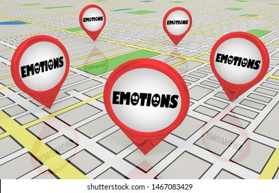 Emotions Therapy Support Group Meetings Locations Map Pins 3d Illustration