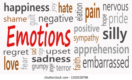 Emotions word cloud collage, social concept background - Illustration