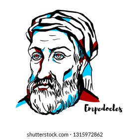 Empedocles engraved portrait with ink contours.  Greek pre-Socratic philosopher and a citizen of Akragas, a Greek city in Sicily.