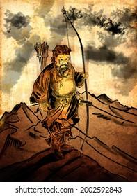 Emperor Jimmu (Jinmu-tennō) was the legendary first emperor of Japan according to the Nihon Shoki and Kojiki. In Japanese mythology, he was a descendant of the sun goddess Amaterasu