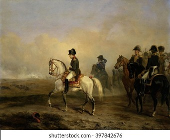 Emperor Napoleon I and his Staff on Horseback, Horace Vernet, c. 1815-50, French oil painting. In the distance is the smoke from a battle of the Napoleonic Wars