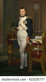 Emperor Napoleon in His Study at the Tuileries, by Jacques-Louis David, 1812, French painting, oil on canvas. The Emperor is portrayed as having worked through the night at his desk, composing the Na