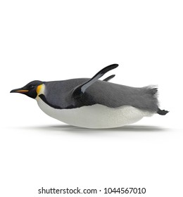 Emperor penguin sliding. isolated on white. Side view. 3D illustration