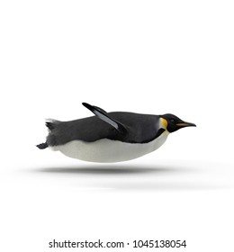 Emperor penguin sliding. isolated on white. 3D illustration