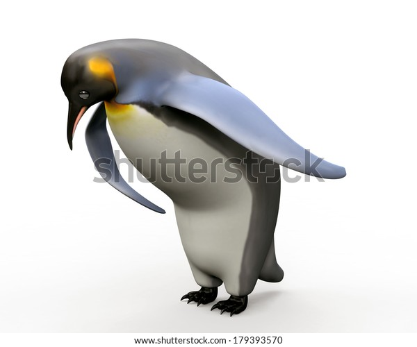 Emperor penguins , cartoon penguins , 3d render penguin isolated on white background
