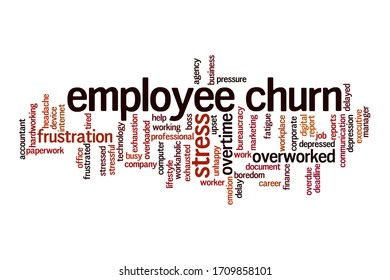 Employee churn word cloud concept on white background