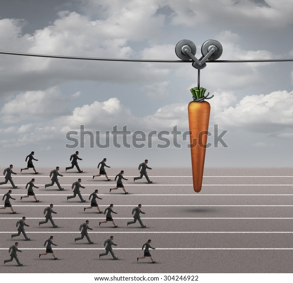 Employee incentive business concept as a group of businessmen and businesswomen running on a track towards a dangling carrot on a moving cable as a financial reward metaphor to motivate for a goal.