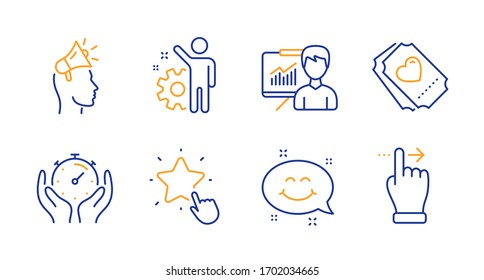 Employee, Love ticket and Brand ambassador line icons set. Smile chat, Timer and Presentation signs. Ranking star, Touchscreen gesture symbols. Cogwheel, Heart. People set. Line employee icon.