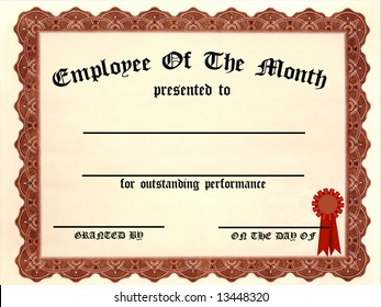 Employee of the Month Certificate - fill in the blanks