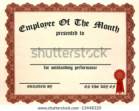 employee month certificate fill blanks stock illustration 13448320