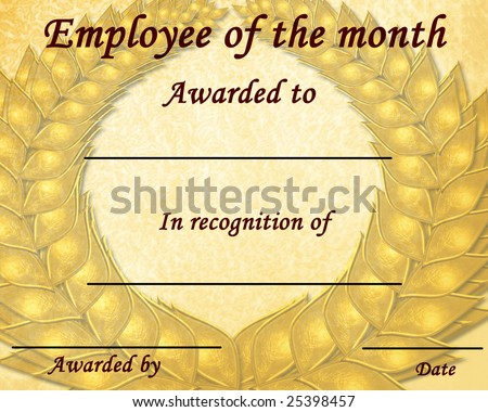 employee month certificate some stains stock illustration 25398457