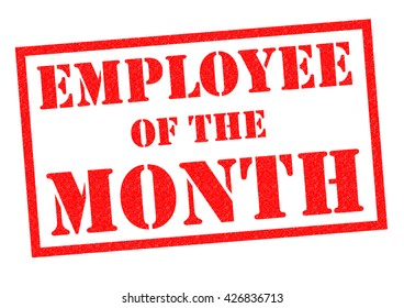 EMPLOYEE OF THE MONTH red Rubber Stamp over a white background.