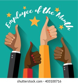 Employee of the month thumbs up poster flat design.