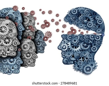 Employee training a group to lead and learn a team of workers learning from a leader sharing a common strategy and vision for developing work skills for success as gears and cogs shaped as a head.