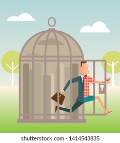 Employee trapped in office cage escaping into vacation or retirement