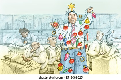 an employee works as a Christmas tree in an office humorous pencil draw