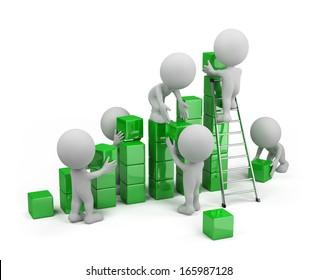 Employees build profit chart. 3d image. White background.