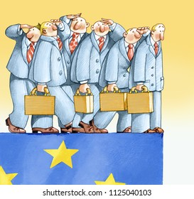 employees' line with the handbag walks on the edge of the European flag up to the edge where the first one of the line sees the abyss