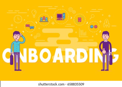 Employees onboarding concept. HR managers hiring new workers for job. Recruiting staff or personnel in their business company. Organizational socialization.