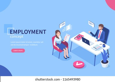 Employment concept with character. Can use for web banner, infographics, hero images. Flat isometric illustration isolated on white background.