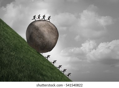 Employment inequality concept as a group of people running away from a rolling boulder with businesspeople on top as a metaphor for oppressive human resource pressure with 3D illustration elements.
