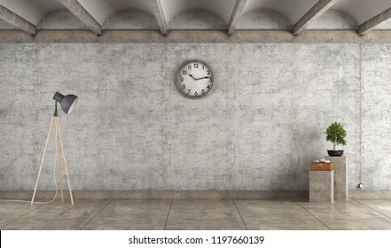 Emprty grunge room with old concrete walls ,floor lamp and floer stands - 3d rendering