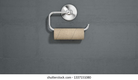 An emptied roll of toilet paper hanging on a chrome toilet roll holder on an isolated white textured background - 3D render
