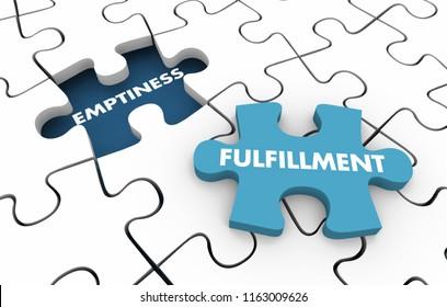 Emptiness Vs Fulfillment Purpose Reason Value Puzzle 3d Illustration