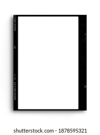 empty 35 mm frame or border with white background