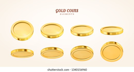 empty 3d gold coins set isolated on background in different positions. Rain of golden coins. Falling or flying money. Bingo jackpot or casino poker or win element. Cash treasure concept.
