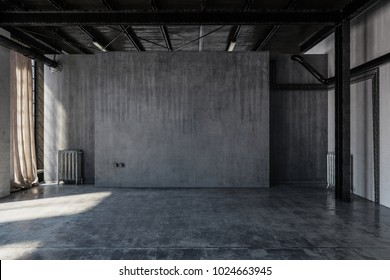 An empty, abandoned industrial concrete warehouse room with draped curtains. 3d Rendering.