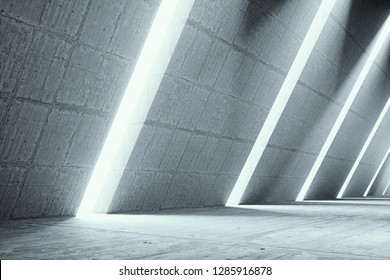 Empty abstract concrete interior, Architecture interior background, empty concrete room with lighting. 3d render of pitched tunnel - Illustration