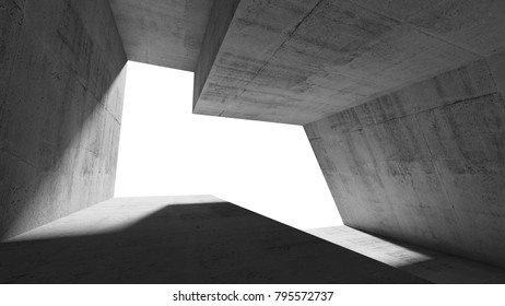 Empty abstract concrete interior with white window opening. Modern minimalistic architecture background, 3d illustration