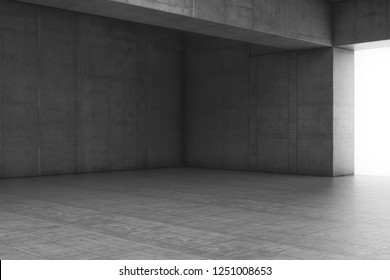 Empty abstract concrete room with the gate and glowing light. Interior concept background. 3d illustration