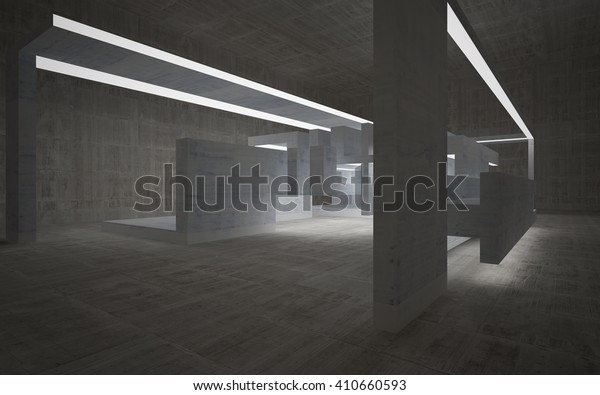 Empty abstract concrete room interior. 3D illustration. 3D rendering.
