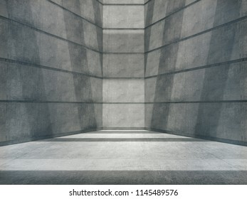 Empty abstract concrete room and lateral lights,blank showroom.3D Rendering