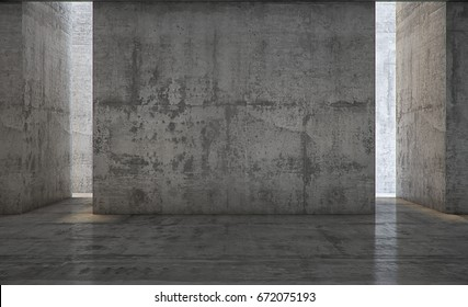 Empty abstract concrete wall and lateral lights, Interior concept background .3d Render