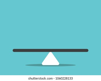 Empty abstract seesaw scale in equilibrium on turquoise blue background. Balance, comparison, decision and measure concept. Flat design. Vector illustration, no transparency, no gradients
