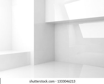 Empty abstract white interior background, room with shiny walls, 3d render illustration