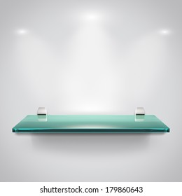 Empty advertising glass shelves with spot light