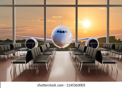 Empty airport terminal lounge and airplane in background at sunset. 3D rendered illustration.