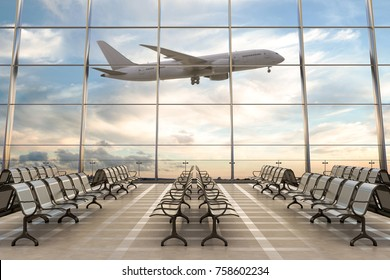 Empty airport terminal lounge with airplane on background. 3d illustration