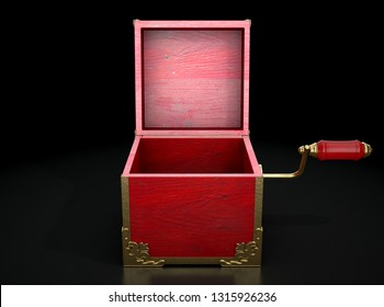 An empty antique open  jack-in-the-box mad of red wood and gold trimmings on a dark studio background under a spotlight - 3D render