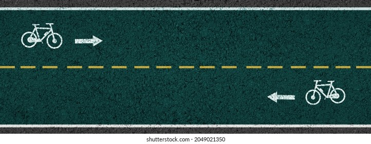 Empty asphalt road with cycle track and bike sign yellow dividing lines safety first, Top view, illustrations
