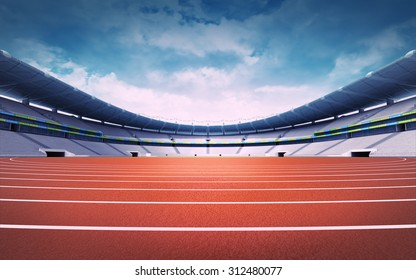 empty athletics stadium with track at panorama day view sport theme digital illustration background