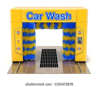 Empty automatic car wash machine on white background - 3D illustration
