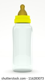 An empty baby bottle (biberon) isolated on white background. Computer generated image with clipping path.