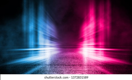 Empty background scene. Dark street, reflection of blue and pink neon light on wet pavement. Rays of light in the dark, smoke. Night view of the city. Abstract dark background. 3d illustration
