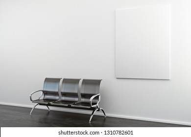 Empty banner and bench in concrete interior. Gallery and ad concept. Mock up, 3D Rendering