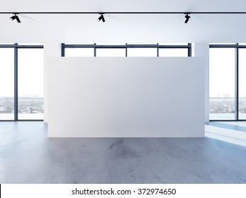 Empty banner in clear white interior with big windows, modern minimalistic style. 3d render